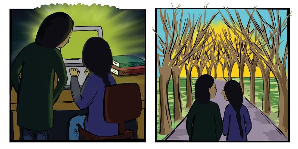 comic strip with parent and student looking at computer, then parent and student walking in the woods