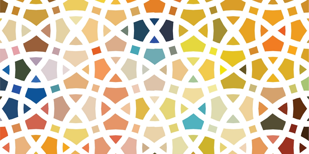 Abstract and colorful geometric illustration of interconnecting circles
