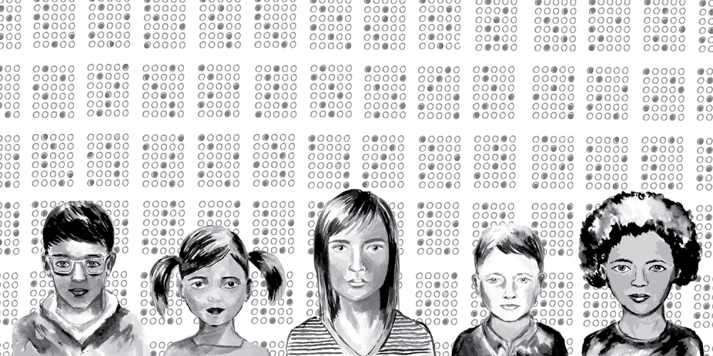 pencil and ink drawing of a line of students against a backdrop that looks like a bubble test