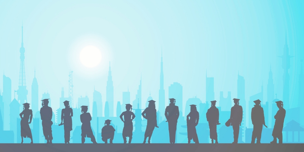 illustration of silhouettes with cap and gown against blue-tinged city backdrop