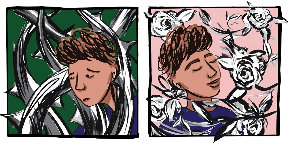 Comic strip illustrations of a teen trapped in thorns then a teen surrounded by roses