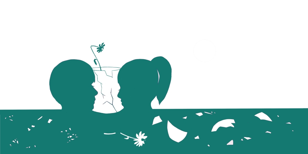 green and white illustration of boy and girl with shattered flower vase between them
