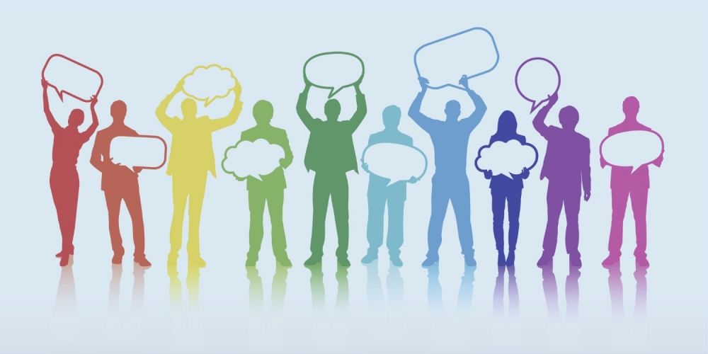 graphic illustration of group silhouettes holding speech bubbles