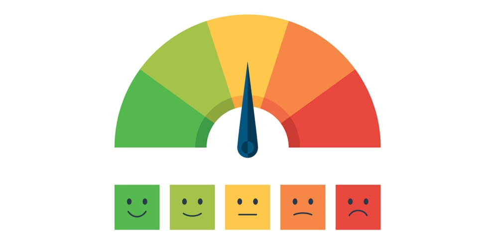 color scale like a half-filled gas tank, with arrow pointing to emotions