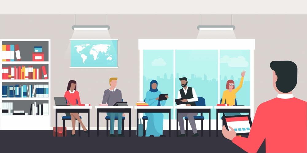 illustration of group of educators sitting together