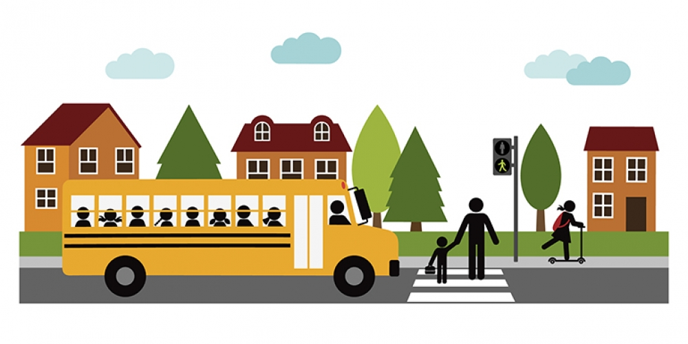 illustration of school with school bus and children