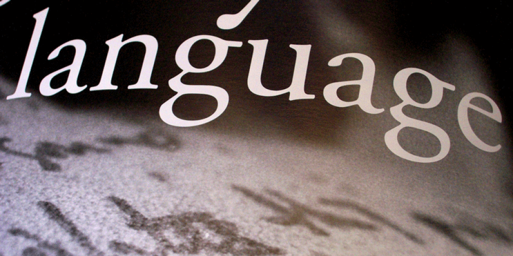 the word language on a book