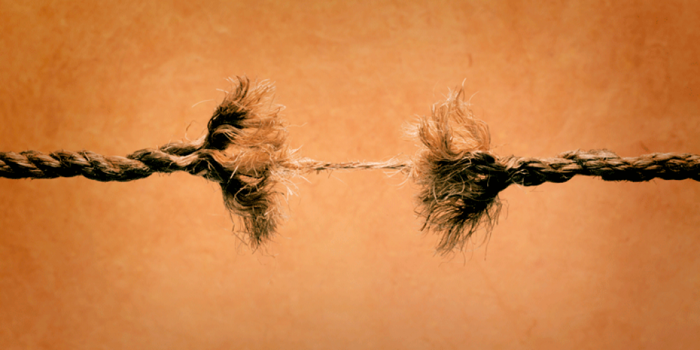 a frayed rope about to break