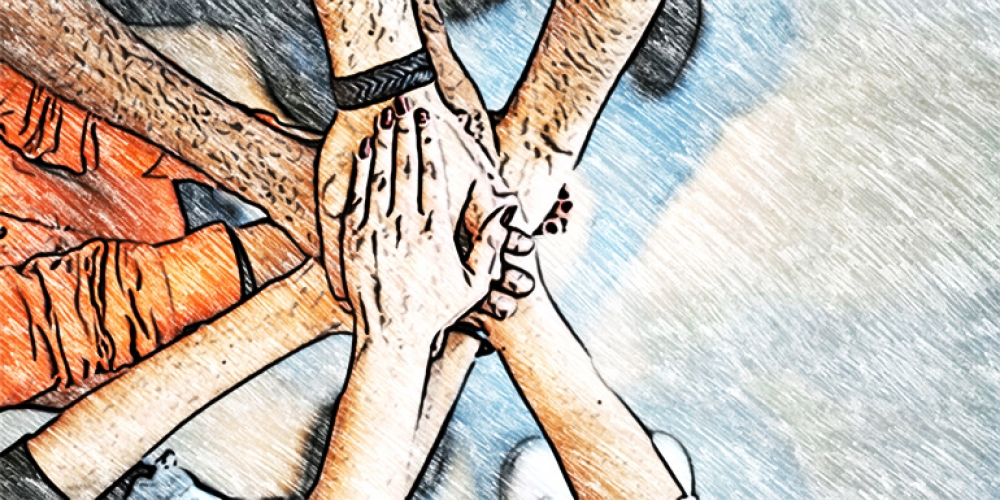 Photo illustration of hands coming together