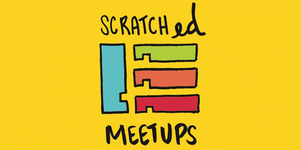 ScratchEd Meetup cartoon logo on yellow background