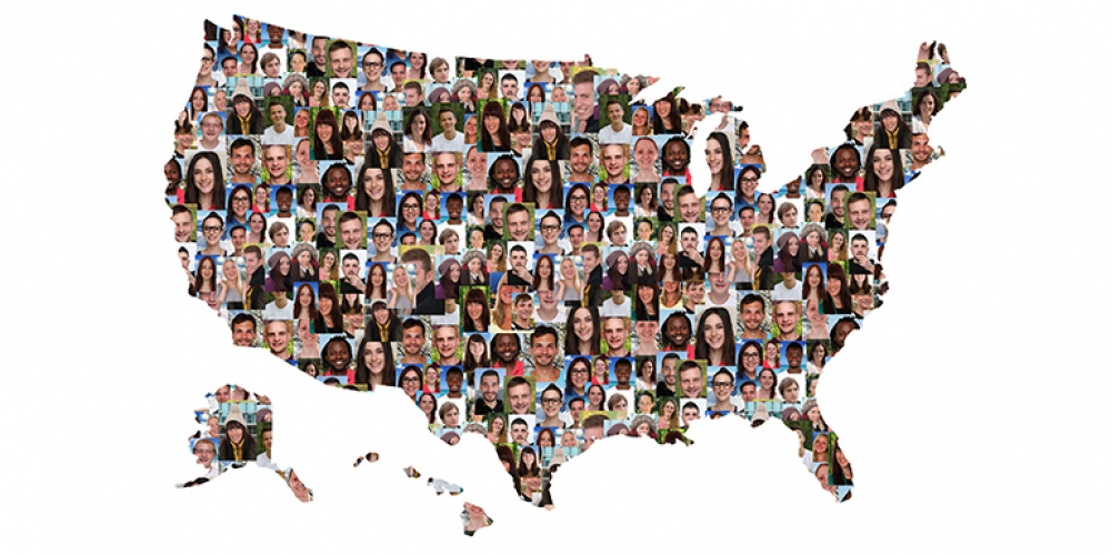 Photo illustration that overlays multicultural faces onto outline of the US