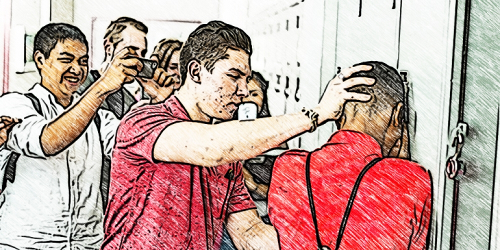 Photo illustration of teen boys bullying another boy