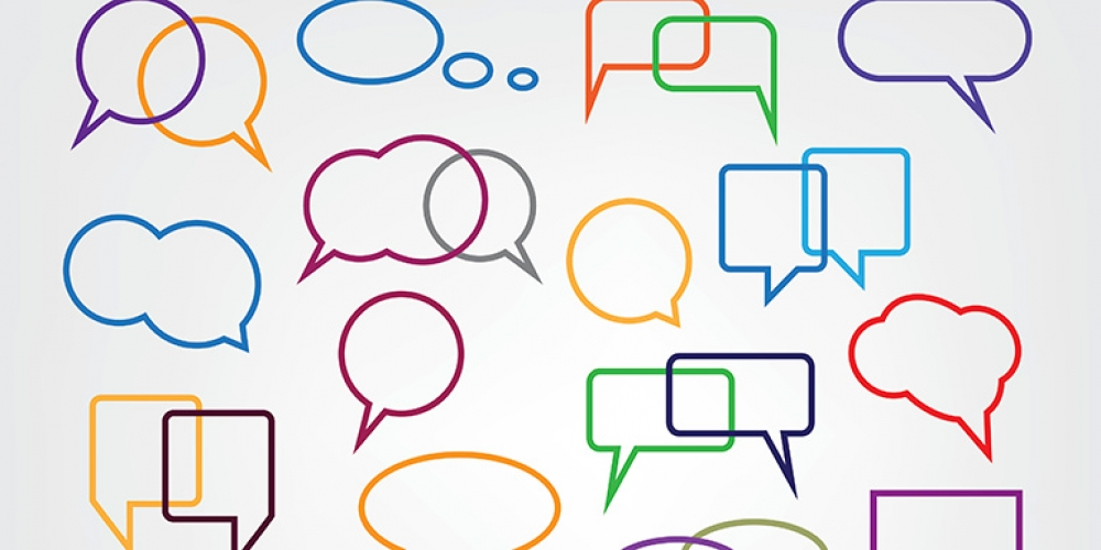 Graphic illustration of colorful speech bubbles