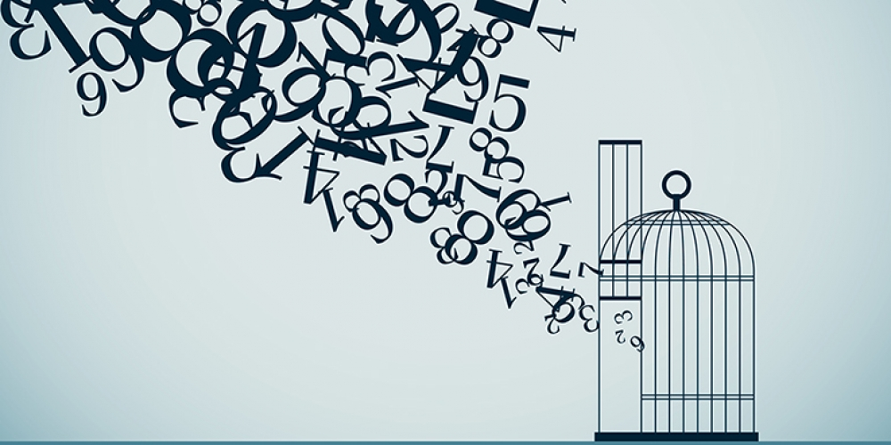 Illustration of numerals escaping from a bird cage and flying upward