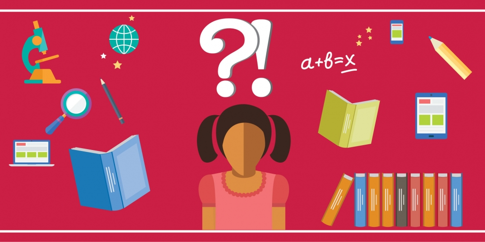 abstract illustration of girl surrounded by books and question marks