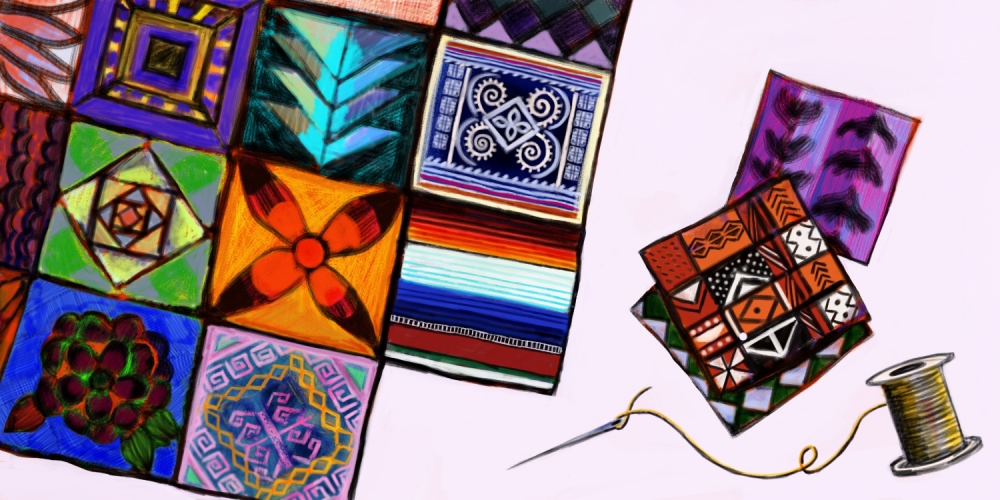 Illustration of a quilt with diverse patches