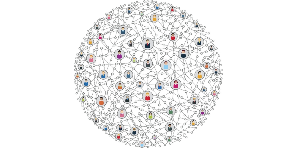 Illustration of a network of people connected across the world