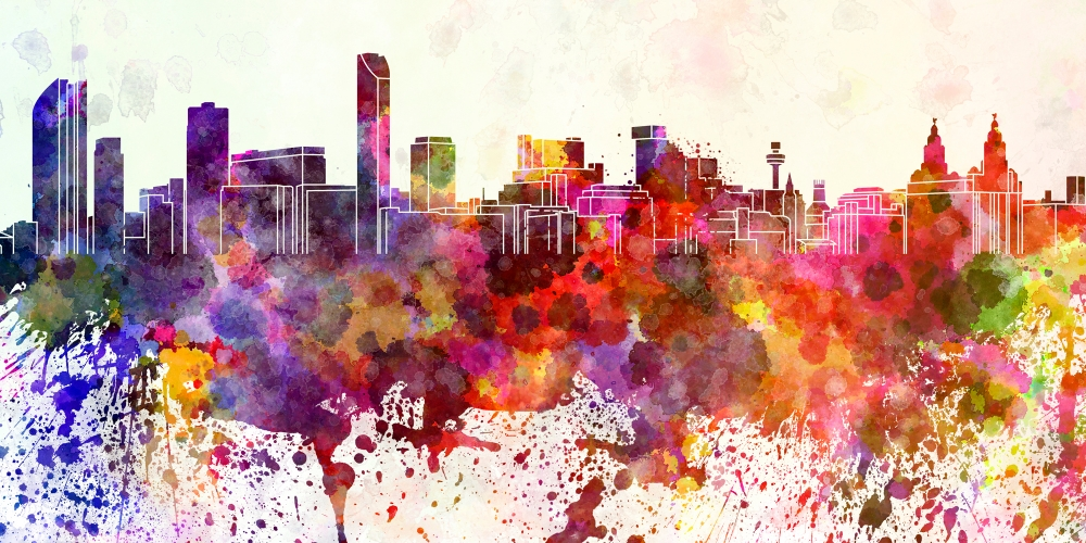 Illustration of a cityscape bleeding colors