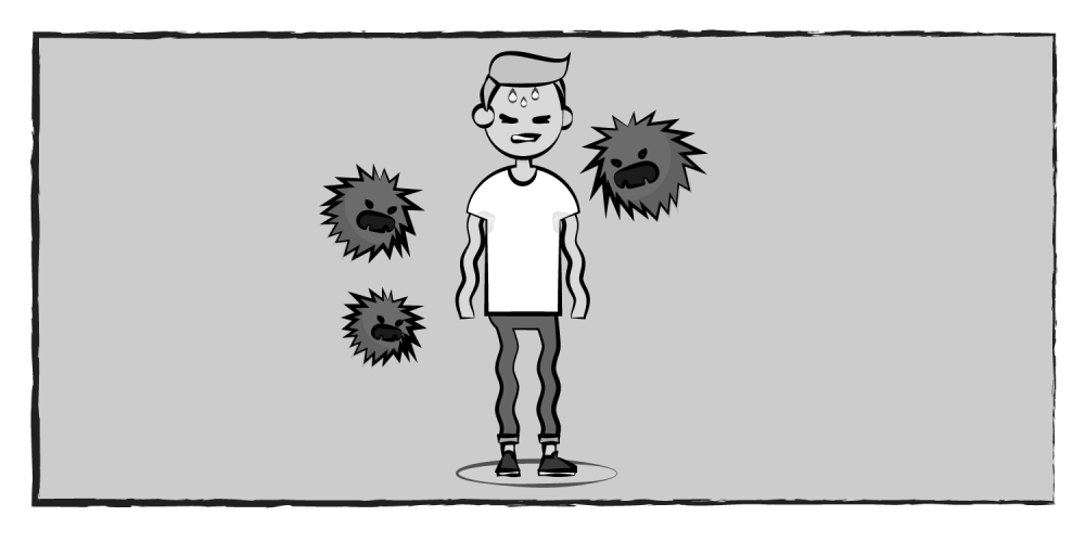 black and white comic of a boy with anxiety monsters floating around him