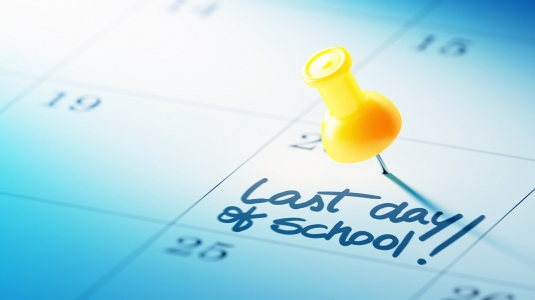 Calendar marked with last day of school