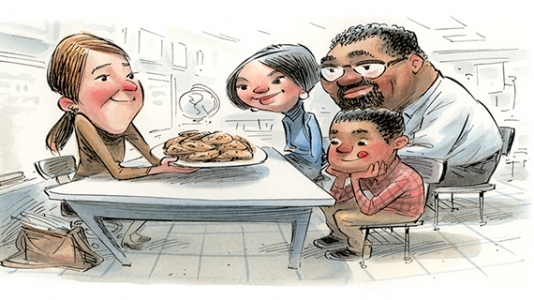 Illustration of teacher and family with plate of cookies