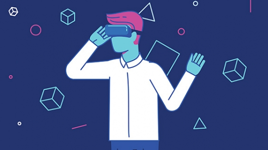 Graphic illustrating a guy in virtual-reality goggles, with shapes floating around him