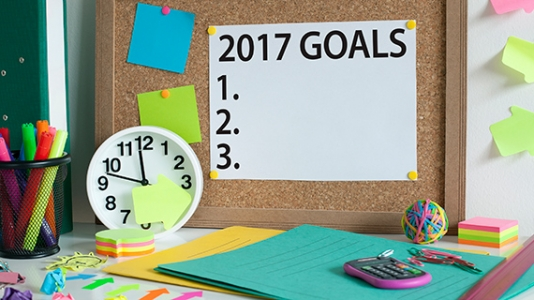 photo of bulletin board with blank list of 2017 goals