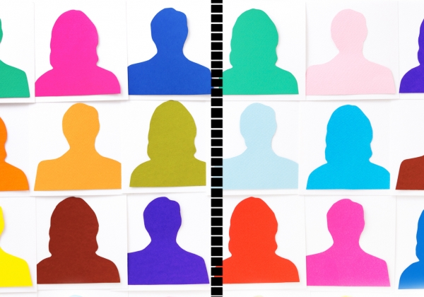 Bright-colored silhouettes on 2 sides of dividing line
