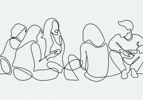 Line drawing of students in conversation