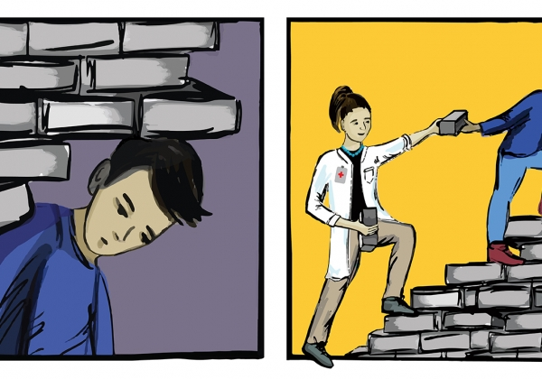 Comic strip of a teen trapped under bricks, and then a school nurse helping him build a ladder with the bricks