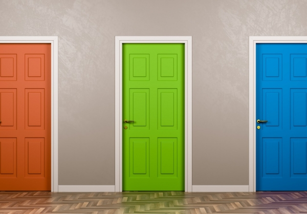 three doors of different colors, implying choice