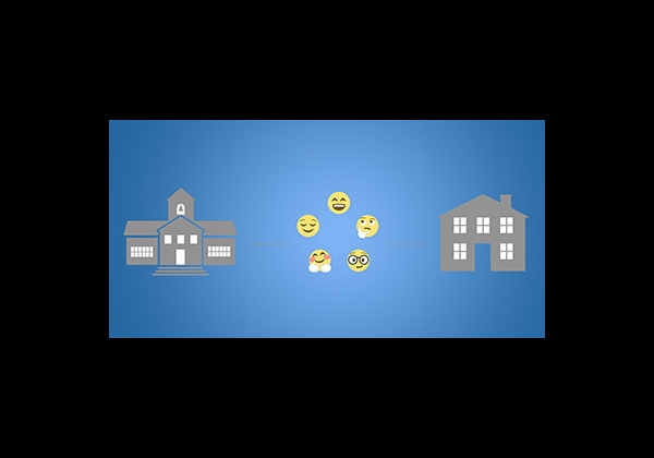 Illustration of a school on the left and a house on the right, with yellow emoticons in the middle