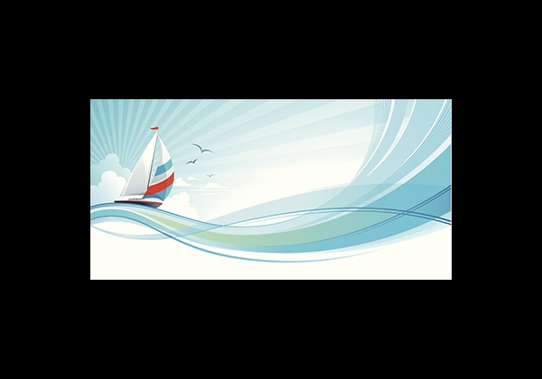 whimsical illustration of a sailboat floating tranquil on large waves