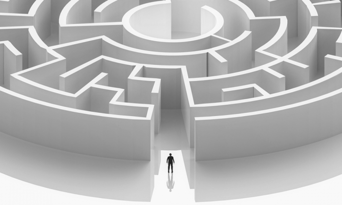 Man entering maze