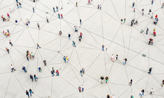 Interconnected people from above