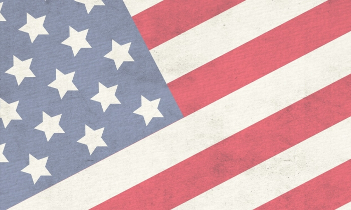 An illustration of red, white, and blue American flag