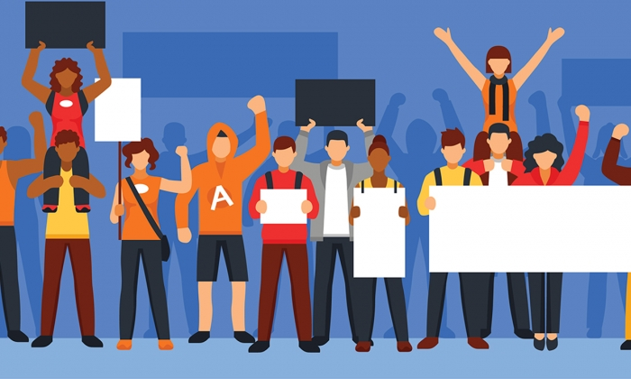 Colorful illustration of students holding signs and protesting