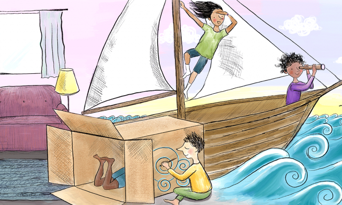 illustration of imaginary play, turning a box in the living room into a sailboat