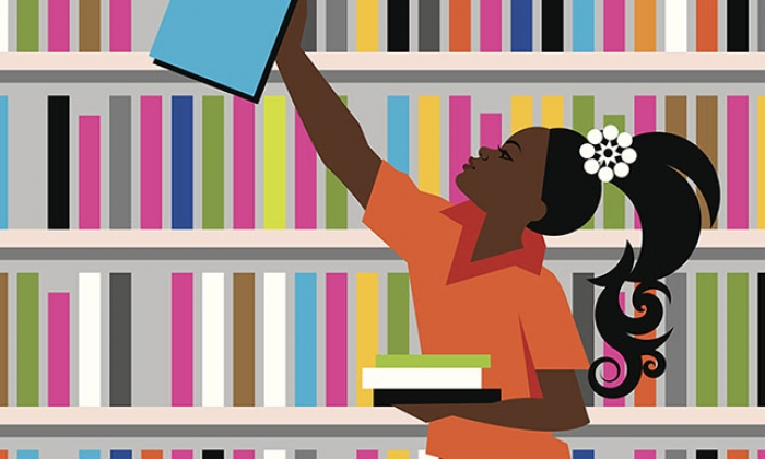 colorful graphic of African-American girl reaching for a library book, against a stack of books
