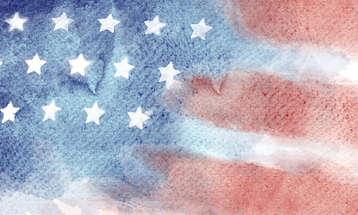 watercolor illustration of US flag, with paint blurring into paper