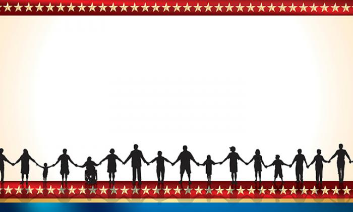 illustration depicting silhouette images of people holding hands, with stars along the border