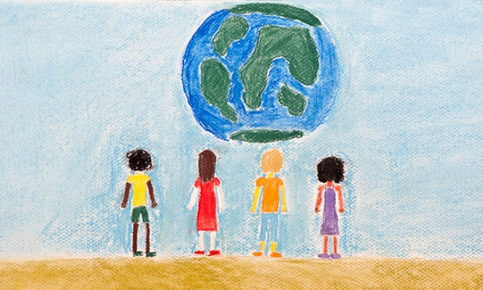 crayon drawing of children and the earth