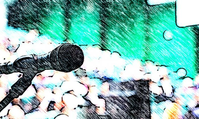Photo illustration of a microphone on stage