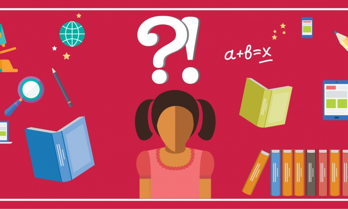 illustration of girl surrounded by books and question marks
