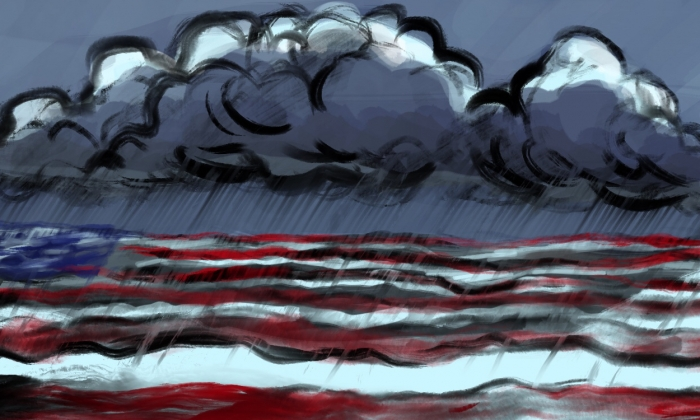 Drawing of a stormy sea overlaid with the American flag