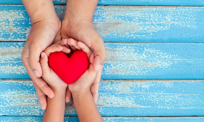 A photo of adult hands and child hands holding a heart on a blue table