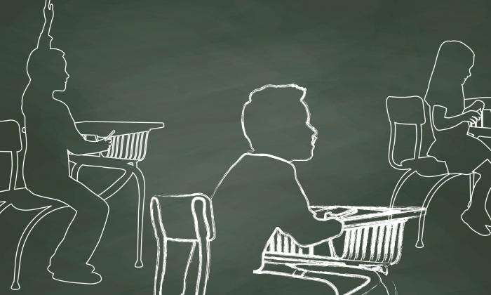 Chalkboard illustration of three students at their desks