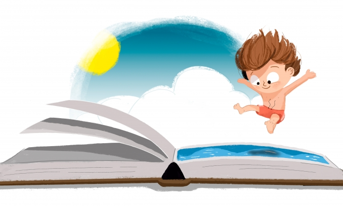 An illustration of a boy in a bathing suit jumping into a book