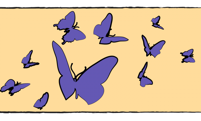 An illustration of purple butterflies on a yellow background