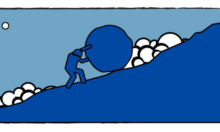 illustration of a blocky figure pushing a rock up a mountain, set against evening blue sky